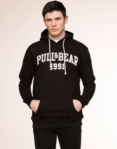 Pull&Bear - man - sweatshirts - side opening hoodie - black - 05591520-V2016