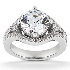 What Are Pave Diamond Rings   Prong Set With Pave Accents Diamond Engagement Ring (187000)