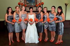 Image detail for -Cocorosecouture: orange and grey wedding-- grey dresses and teal/coral accents.