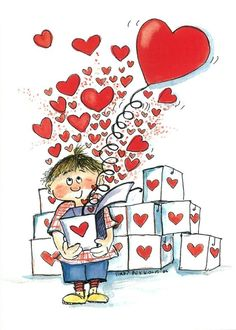 Pinned onto valentines day illustration Board in Valentines Day Category Heart Art, Love Heart, Art Fantaisiste, Whimsical Art, Cute Illustration, Love Is All, Clipart, Cute Art, Happy Valentines Day