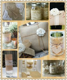 Burlap Wedding Decor ·DIY· great ideas just get jars put burlap around with lace mixed flowers Fall Wedding, Rustic Wedding, Our Wedding, Dream Wedding, Wedding Ideas, Burlap Wedding Decorations, Burlap Lace, Hessian, Burlap Crafts