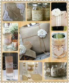 Burlap Wedding Decor ·DIY· great ideas just get jars put burlap around with lace mixed flowers