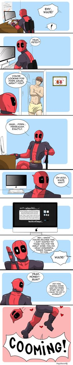 i love how deadpool just sprungs out the chair like mario ITS A ME! Marvel Funny, Marvel Vs, Marvel Dc Comics, Anime Comics, Funny Comics, Deadpool X Spiderman, Cute Deadpool, Spideypool, Superfamily