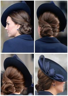 Catherine, Duchess of Cambridge with a beautiful side chignon. Side Chignon, Vintage Updo, Loose Updo, Estilo Real, Elegant Updo, Kate Middleton Style, Estilo Fashion, Princess Kate, Princess Charlotte