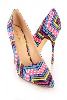 Aztec Printed Single Sole Pump High Heels Fabric