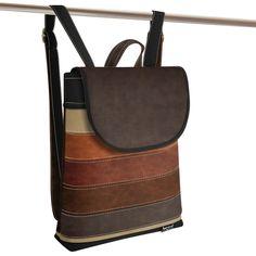 Jarry Uni Five brown , black and beige Uni, Leather Backpack, Backpacks, Beige, Brown, Black, Fashion, Moda, Leather Backpacks