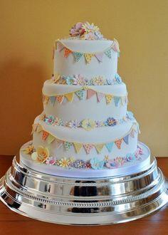 Bunting Wedding Cake - by Sylvania Cakes @ CakesDecor.com - cake decorating website
