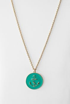 anchor pendant - turquoise