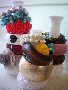 Cheap vases as bracelet holders...  Craft-O-Maniac: Getting Organized-DIY