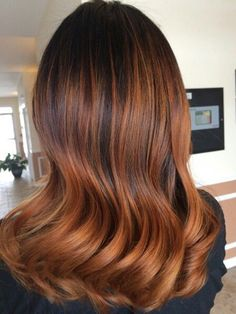 Elegant Hairstyle of Copper Ombre Balayage Hair with Dark Roots