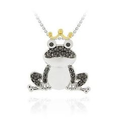 $12.99 - Black Diamond Accent Frog Pendant with Silver Plating