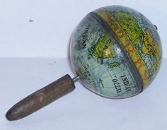 antique tin toy pocket globe advertisng Yorkshire Relish