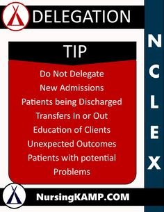 NCLEX Tip Delegation Nursing KAMP Test Taking Tip NCLEX Tip Test Taking Student Nurse Nursing KAMP - The Nurses Notes on Nursing nursingkamp.com
