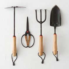 Made from heat-treated stainless steel and sustainable bamboo, each set includes a spade, cultivator, triangle hoe, and ambidextrous scissors. $68