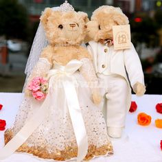Wedding Teddy Bears | ... Teddy Bear > Wedding Dress Teddy Bear > Romantic Wedding Teddy Bear in