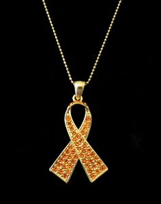 Orange Ribbon Multiple Sclerosis MS Awareness Pendant Necklace