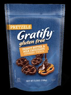 Peanut Butter & Milk Chocolate Covered Twists A drizzle of decadent dark chocolate tops this smooth and creamy combination of peanut butter and milk chocolate. Prepare your taste buds for unrivaled gratification. #glutenfree #gratifyglutenfree #pretzels #coveredpretzels #milkchocolate #peanutbutter