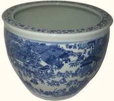 Blue and White Fish Bowl Planter with Village Scene