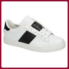 Spot On Damen Cemented Strip Trainers (40 EU) (Weiß/Schwarz) - Sneakers für frauen (*Partner-Link)