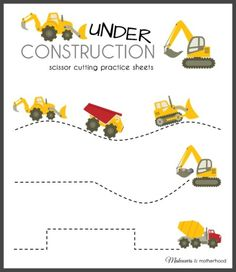 Free Construction Truck Scissor Cutting Practice Sheets from Makeovers & Motherhood