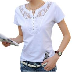 Buy Summer T-shirt Women Casual Lady Top Tees Cotton White Tshirt Female Brand Clothing T Shirt Top Tee Plus SizePlus Size 2017 New High Quality Summer Butterfly Printed Women T shirt Sexy Lace Patchwork Hollow Out Lady Tops Tees t-shirt femmes casua Sexy Shirts, T Shirts For Women, Clothes For Women, Summer Tshirts, Shirt Price, Plus Size Blouses, Latest Fashion For Women, Blouse Designs, Fashion Outfits
