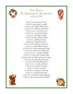A Christmas Alphabet - printable Christmas Alphabet, Christmas Poems, Christmas Program, Meaning Of Christmas, A Christmas Story, Christmas Signs, Christmas Projects, Christmas Traditions, Winter Christmas