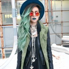 Heavy on the black... Amazing sunglasses from @sunscapeeyewear ... ♥♥♥ #bewolf #sunscapeeyewear #vantjag #accessories #sunglasses #eyewear #mirrored #necklaces #cross #fedorahat #bluelipstick #minthair #manicpanic #leatherjacket #cargovest #septum #jettriostudchainearrings #gothic #punk #grunge #gypsy #streetfashion #streetstyle #fashionblogger #montreal