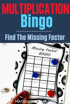 Here is an easy math game that practices multiplication facts. You need to find the missing factor in the equation to mark your square! #easymathgame #multiplication #bingo #freemathworksheet #homeschool