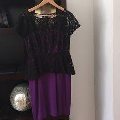 Peplum purple and black dress Purple and black lace peplum dress. Worn only once! Donna Morgan Dresses