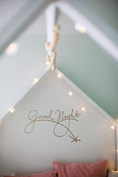 good night decal - perfect over a crib or kids bed. So chic! Gold Nursery, Baby Nursery Bedding, White Nursery, Nursery Themes, Nursery Decor, Wall Decor, Prince Nursery, Forest Nursery, Rainbow Nursery