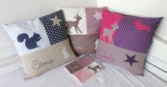 Housse de coussin patchwork avec prénom brodé : Linge de lit enfants par la-chouette-a-pois-roses