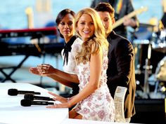 THREE'S A CROWD Blake Lively shows off her pearly whites during an interview with Zoë Saldana and Pierre Niney at the Cannes Film Festival Thursday in Cannes, France.