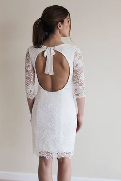 so cute!! Reception Dress, Short Wedding Dress with Open Back, Custom Made French Lace Dress