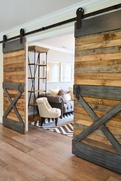 To give your barn doors a more industrial look, paint a wood trim to resemble metal.