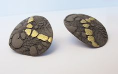 Black Gray Gold Porcelain Earrings made with by CeramicJewelleries