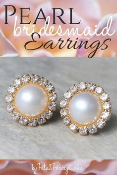 Planning a wedding? These beautiful gold and pearl earrings make a pretty keepsake gift for your bridesmaids! Gold Bridal Earrings, Bridesmaid Earrings, Bridal Jewelry, Bridesmaids, Pearl Earrings, Bridal Shower Corsages, Earrings Handmade, Handmade Jewelry, Bridesmaid Gifts Unique