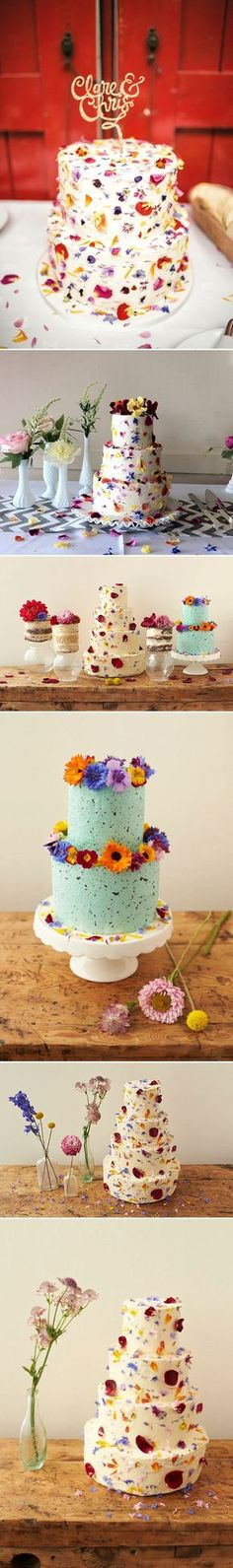 Edible flowers - Wedding cakes decorated with edible petals | colourful wedding cakes | fun wedding cakes | Quirky Wedding Cakes | Cake by http://beesbakery.co.uk/#sthash.BPsDaL20.dpbs | http://www.rockmywedding.co.uk/decorating-cakes-with-edible-petals/