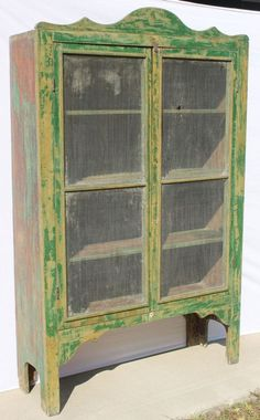 antique pine pie safe/jelly cupboard w crest in old gre : Lot 128