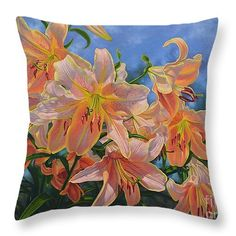 "Oriental Lilies 2 Red Hot Throw Pillow 14"" x 14"" from original oil painting by Fiona Craig, is also available in larger sizes."