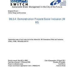 SWITCH: SUSTAINABLE WATER MANAGEMENT IN THE CITY OF THE FUTURE. Howe, C.A.; Vairavamoorthy, K.; van der Steen., N.P. Informe Final del proyecto SWITCH 2006-2011. Disponible en @ http://roble.unizar.es/record=b1646473~S4*spi