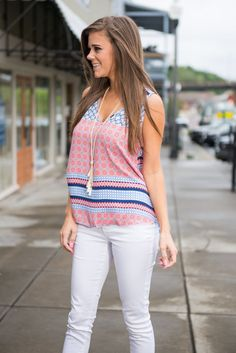 Take Your Pick Top, Coral || You can pair this tank with blue jeans, white skinnies, shorts, capris, and so on! Just take your pick! The print and the colors are gorgeous together!! All you need is a trendy necklace to complete your look!