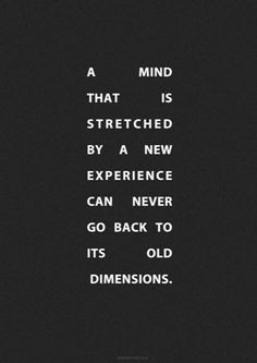 A mind that is stretched by a new experience can never go back to it's old dimensions.