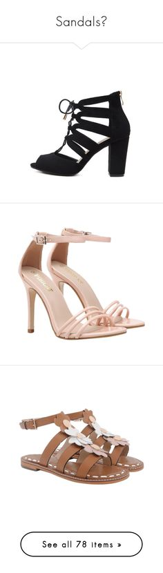 """""""Sandals①"""" by zaful ❤ liked on Polyvore featuring shoes, sandals, lace up sandals, black sandals, peep toe sandals, laced sandals, peeptoe shoes, pink patent leather sandals, nude patent shoes and nude strappy shoes"""