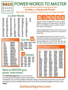 Help guide for new Scrabble and Words with Friends players. Best Scrabble Words, Scrabble Word Finder, English Writing Skills, Writing Tips, 2 Letter Words, Fun Card Games, Family Fun Games, Words With Friends, Scrabble