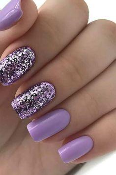 Lilac Nails With Glitter, Purple Glitter Nails, Purple Acrylic Nails, Purple Nail Art, Lavender Nails, Purple Nail Designs, Cute Acrylic Nail Designs, Gel Nail Designs, Sassy Nails
