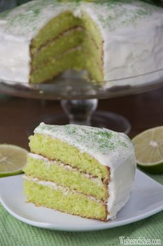 Easy Triple Layer Key Lime Cake recipe takes only 10 minutes to put together, is the perfect balance of sweet and tart, and the perfect green for St. Patrick's Day!