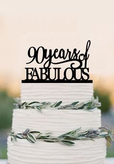 90th of fabulous cake topper acrylic birthday cake topper, 90th annive – DokkiDesign