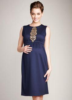 Maternal America - Navy Beaded Maternity Shift Dress