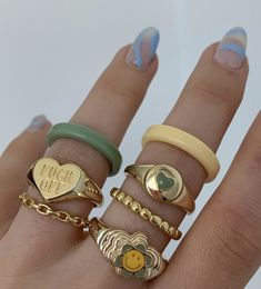 Hand Jewelry, Cute Jewelry, Jewlery, Nail Ring, Accesorios Casual, Nail Accessories, Style Casual, Cute Rings, Hippie Jewelry