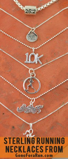 Running Necklaces. Sterling Silver running necklaces from GoneForaRun.com
